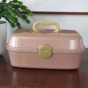 Caboodle Inspired Dusty Rose and Gold Make-up Case